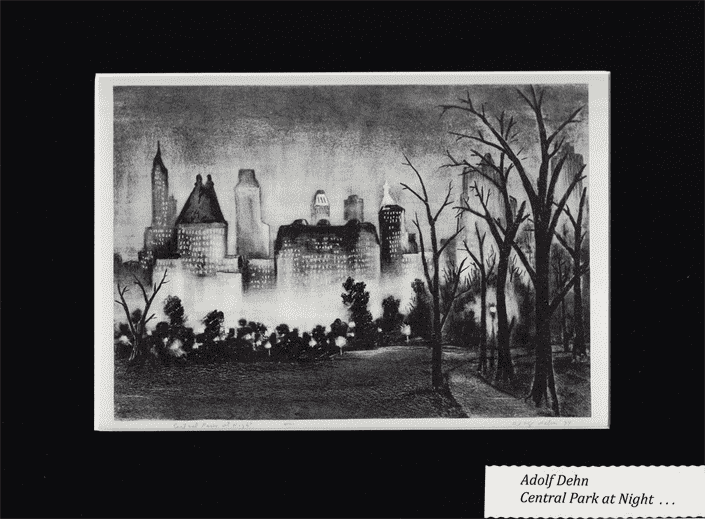 Central Park at Night BY ADOLF DEHN