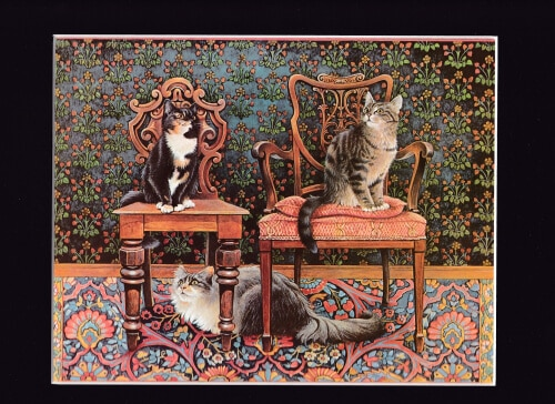 3 Cats on Chairs by Lesley Ann Ivory